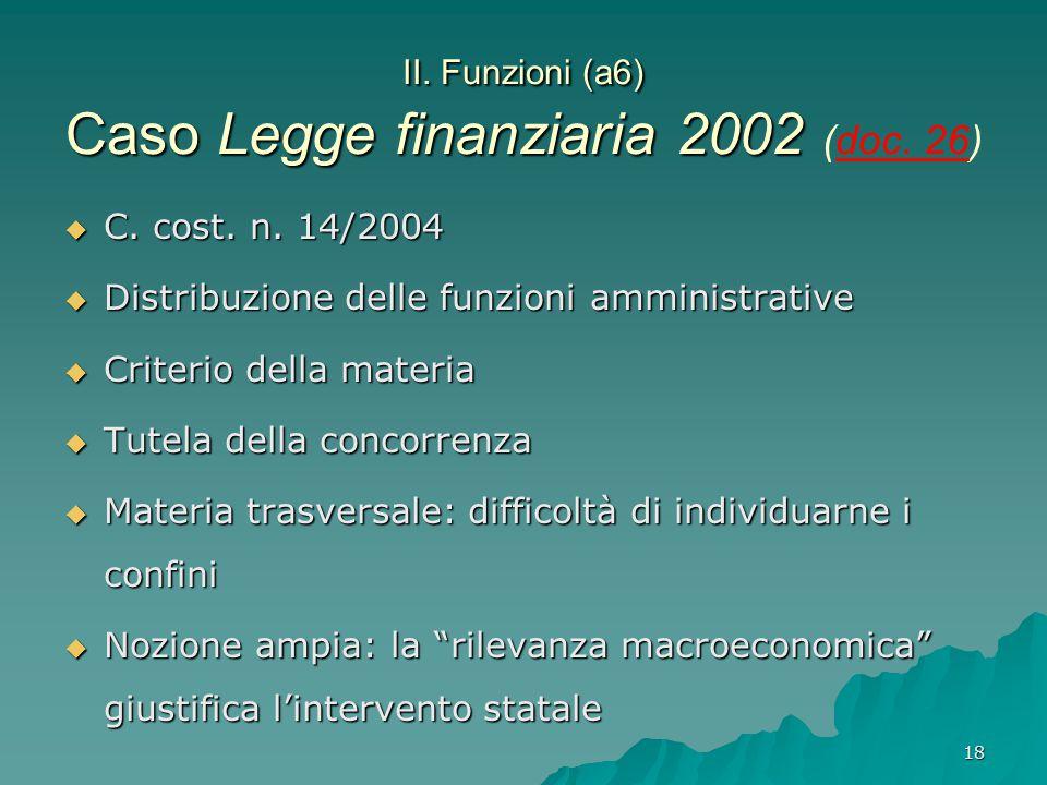 II. Funzioni (a6) Caso Legge finanziaria 2002 (doc. 26)