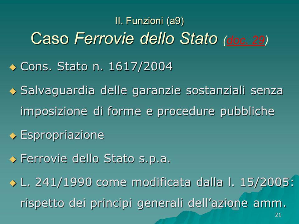 II. Funzioni (a9) Caso Ferrovie dello Stato (doc. 29)