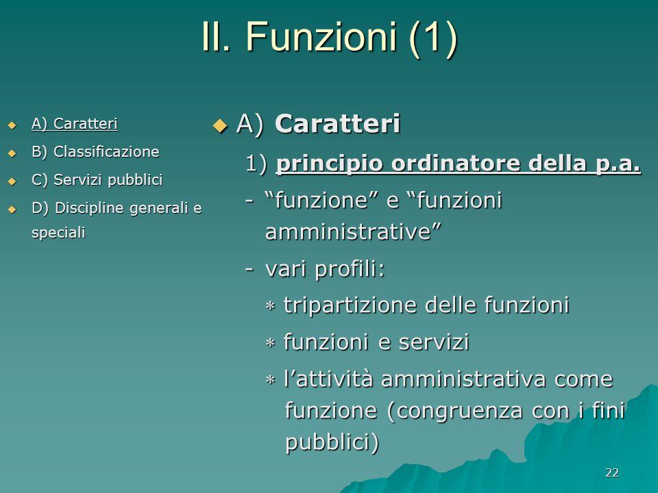 II. Funzioni (1) A) Caratteri 1) principio ordinatore della p.a.