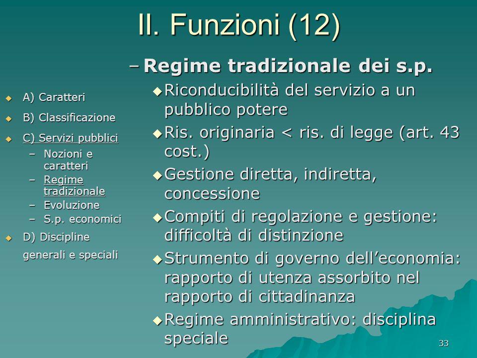 II. Funzioni (12) Regime tradizionale dei s.p.