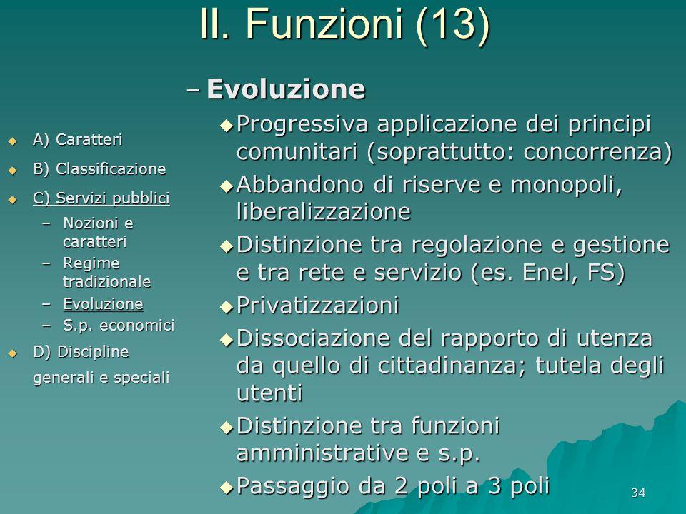 II. Funzioni (13) Evoluzione