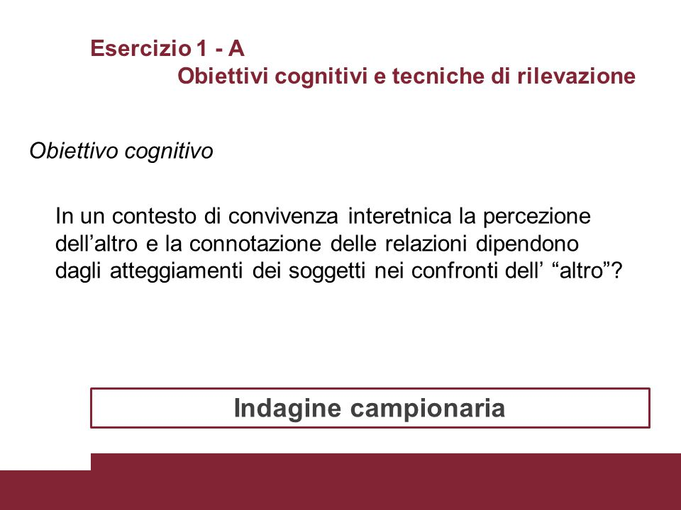 Esercizio 1 - A Obiettivi cognitivi e tecniche di rilevazione