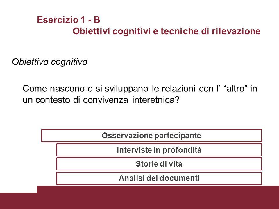 Esercizio 1 - B Obiettivi cognitivi e tecniche di rilevazione