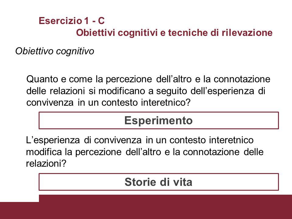 Esercizio 1 - C Obiettivi cognitivi e tecniche di rilevazione