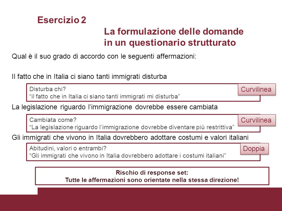Esercizio 2 La formulazione delle domande in un questionario strutturato