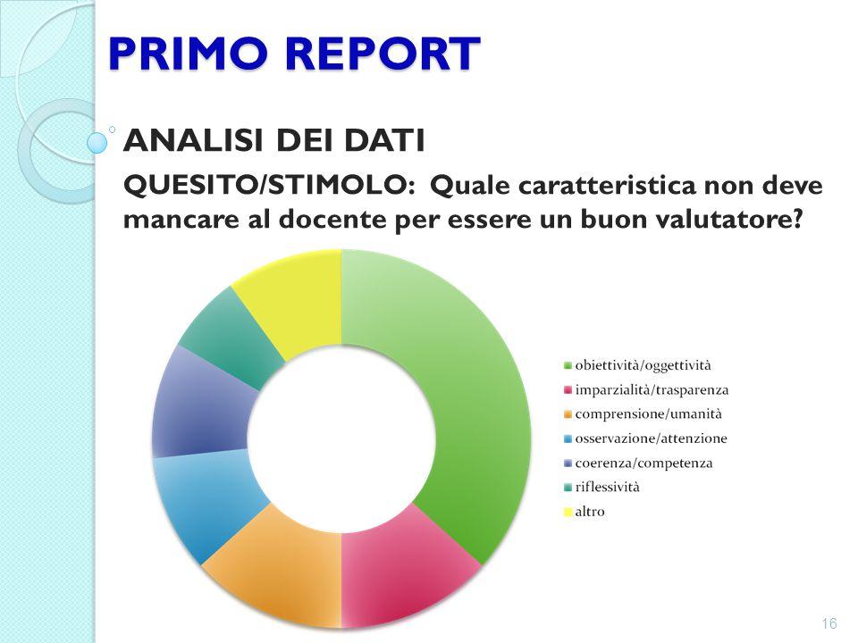 PRIMO REPORT ANALISI DEI DATI