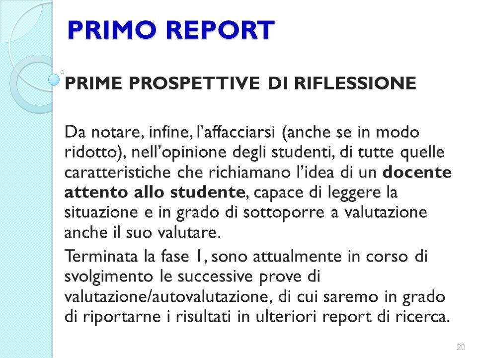 PRIMO REPORT PRIME PROSPETTIVE DI RIFLESSIONE