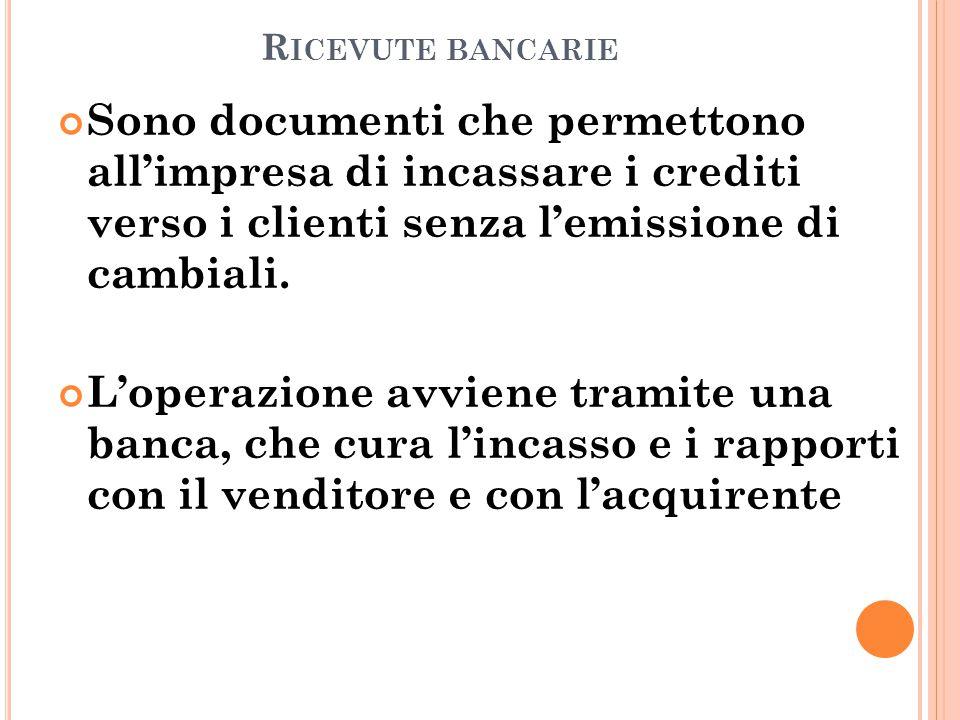 Ricevute bancarie Sono documenti che permettono all'impresa di incassare i crediti verso i clienti senza l'emissione di cambiali.