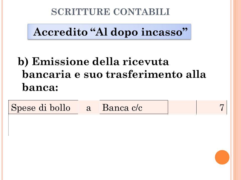 SCRITTURE CONTABILI Accredito Al dopo incasso b) Emissione della ricevuta bancaria e suo trasferimento alla banca: