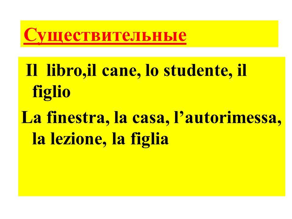 Существительные Il libro,il cane, lo studente, il figlio La finestra, la casa, l'autorimessa, la lezione, la figlia