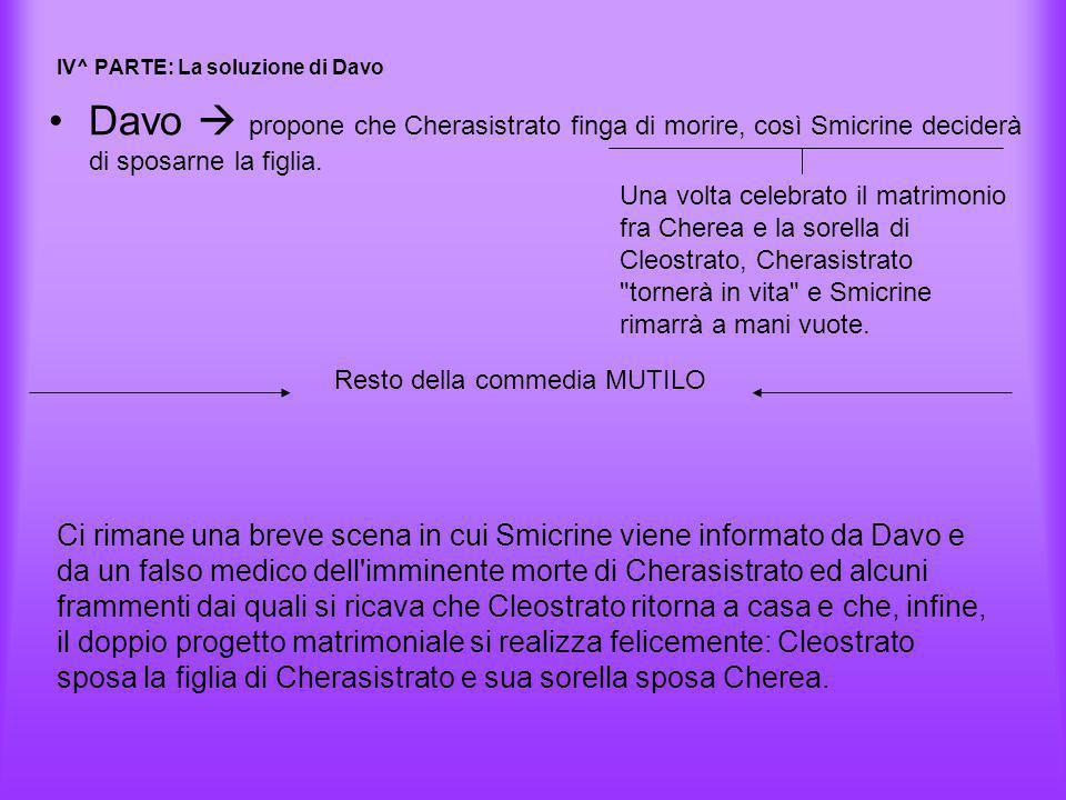 IV^ PARTE: La soluzione di Davo