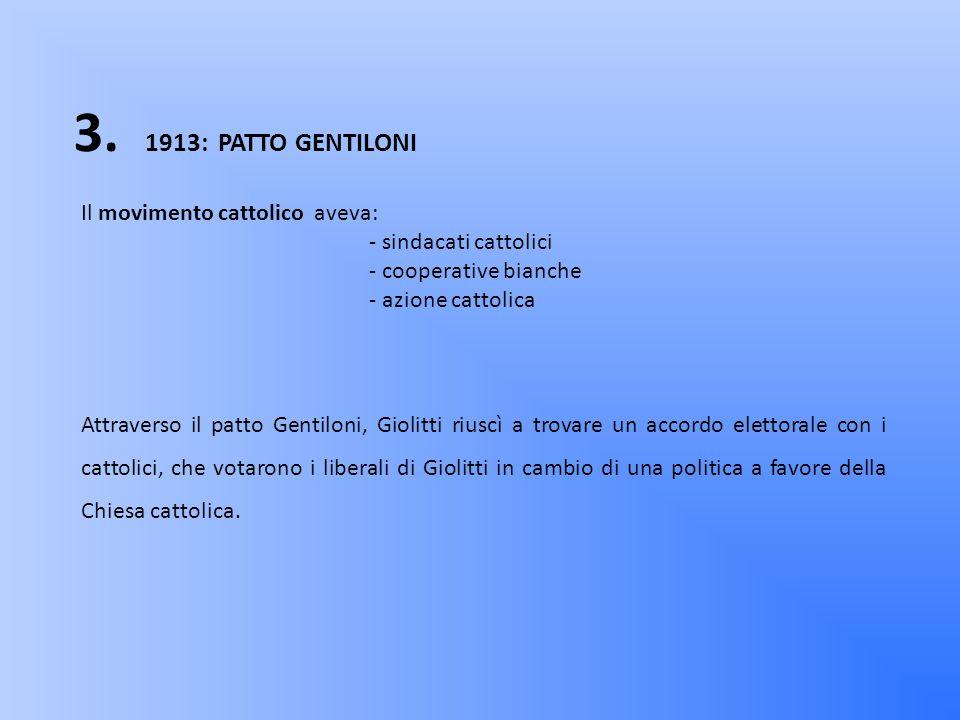 3. 1913: PATTO GENTILONI Il movimento cattolico aveva:
