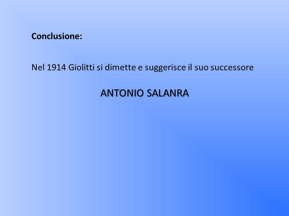 ANTONIO SALANRA Conclusione: