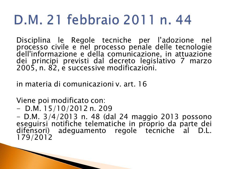 D.M. 21 febbraio 2011 n. 44
