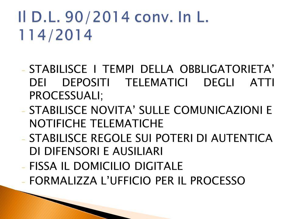 Il D.L. 90/2014 conv. In L. 114/2014 STABILISCE I TEMPI DELLA OBBLIGATORIETA' DEI DEPOSITI TELEMATICI DEGLI ATTI PROCESSUALI;