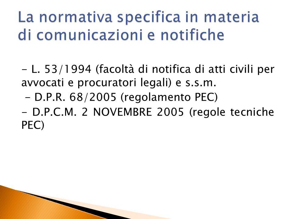 La normativa specifica in materia di comunicazioni e notifiche