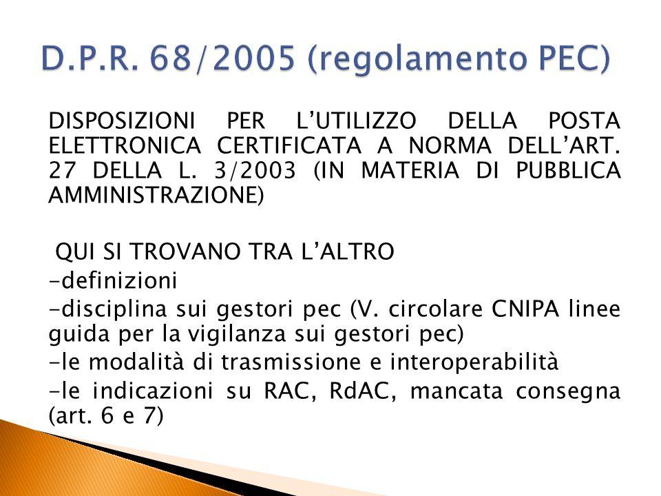 D.P.R. 68/2005 (regolamento PEC)