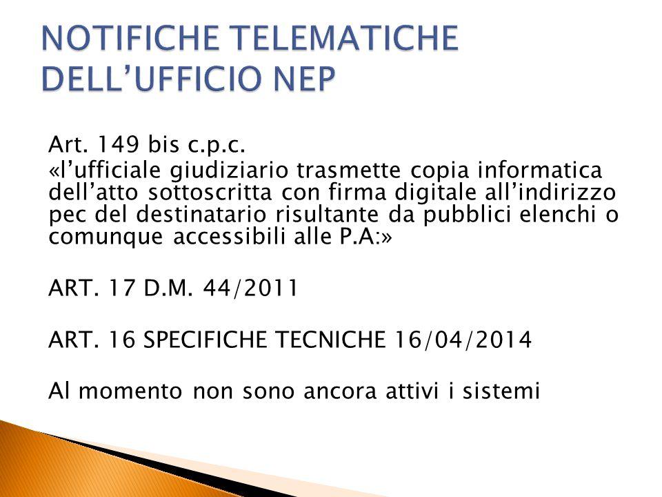 NOTIFICHE TELEMATICHE DELL'UFFICIO NEP