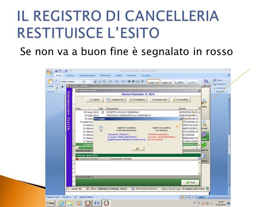 IL REGISTRO DI CANCELLERIA RESTITUISCE L'ESITO
