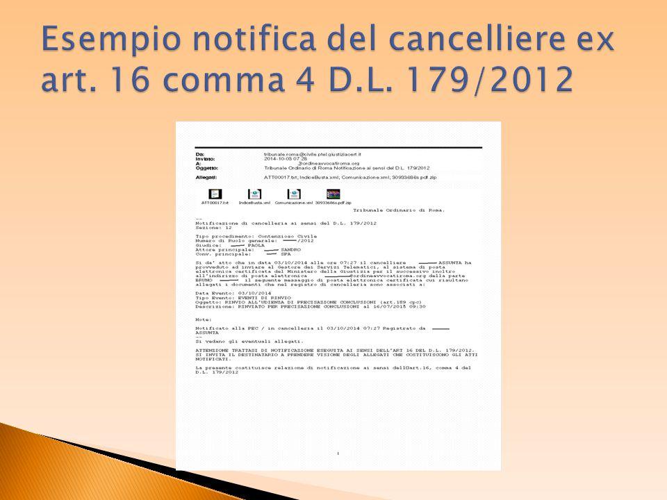 Esempio notifica del cancelliere ex art. 16 comma 4 D.L. 179/2012