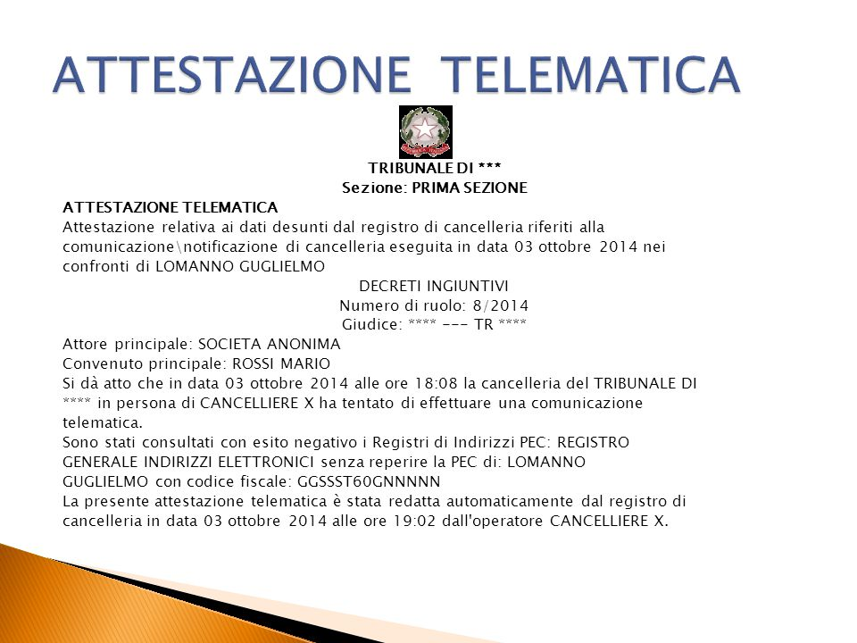 ATTESTAZIONE TELEMATICA