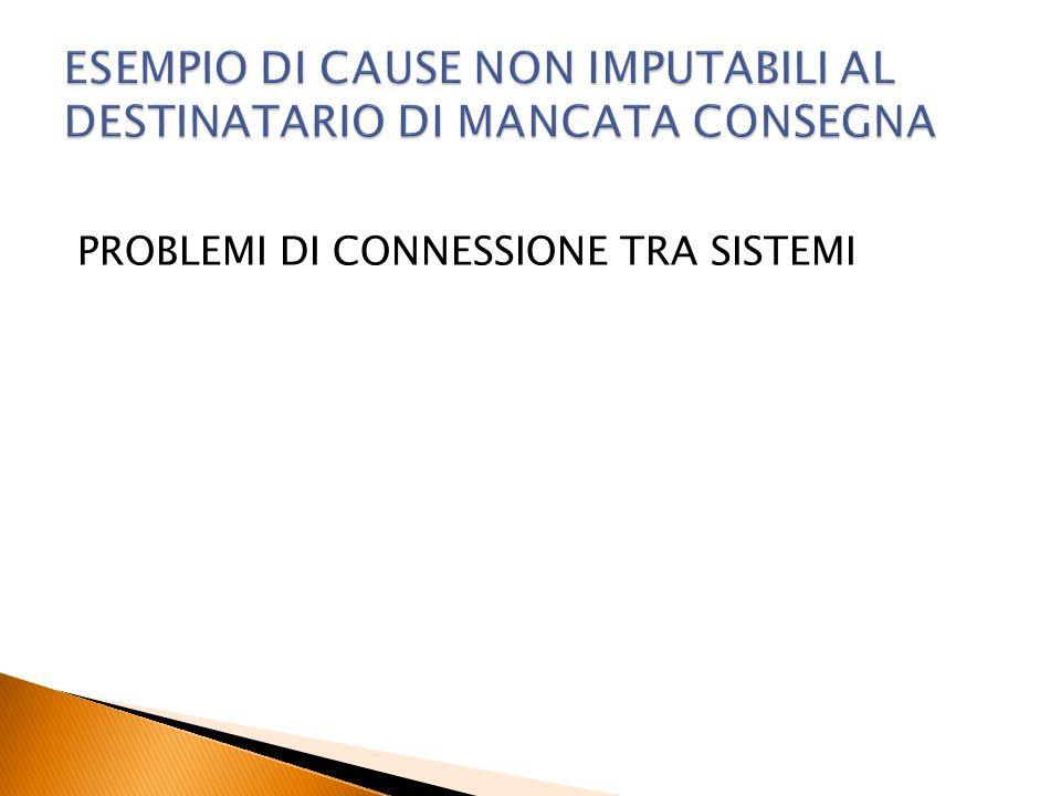 ESEMPIO DI CAUSE NON IMPUTABILI AL DESTINATARIO DI MANCATA CONSEGNA