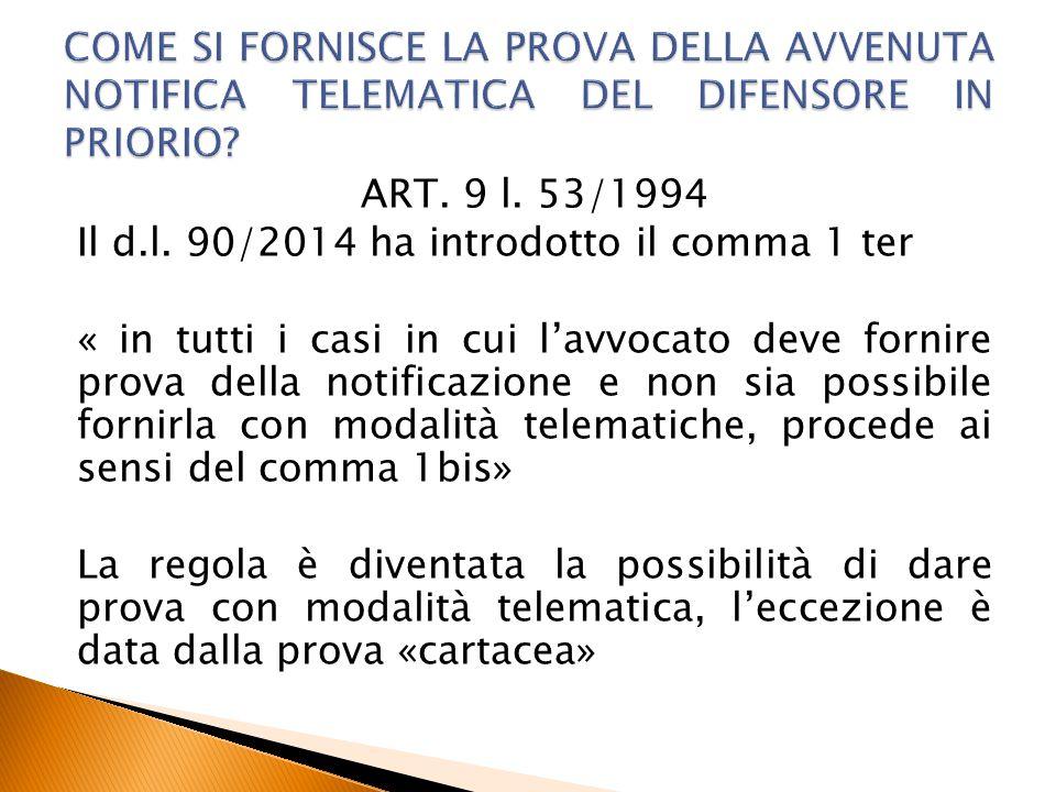 COME SI FORNISCE LA PROVA DELLA AVVENUTA NOTIFICA TELEMATICA DEL DIFENSORE IN PRIORIO