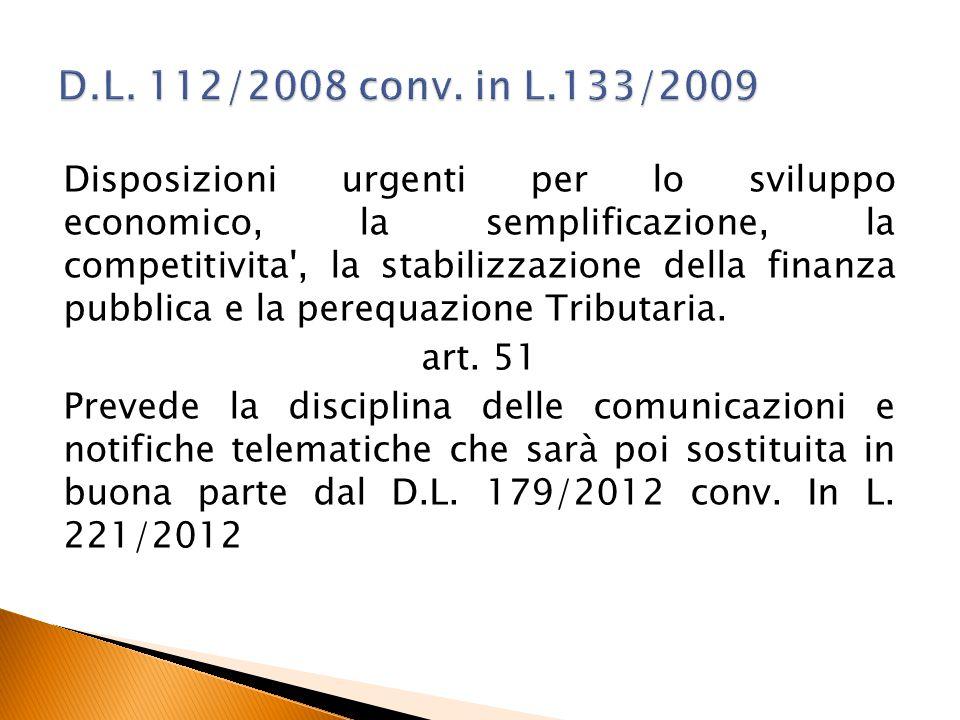 D.L. 112/2008 conv. in L.133/2009