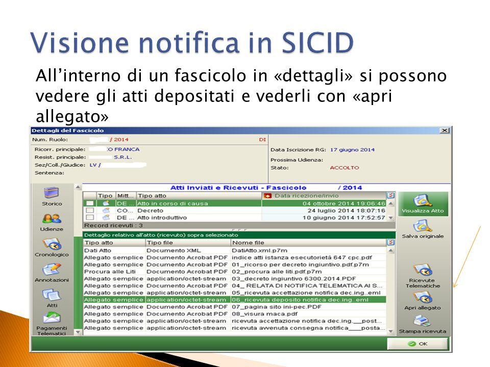 Visione notifica in SICID