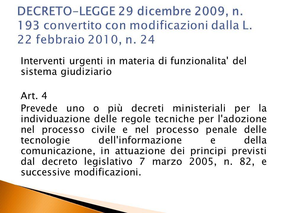 DECRETO-LEGGE 29 dicembre 2009, n