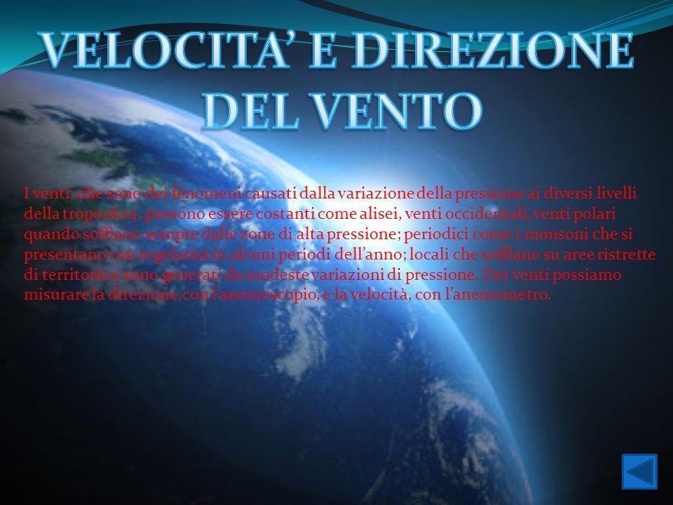VELOCITA' E DIREZIONE DEL VENTO