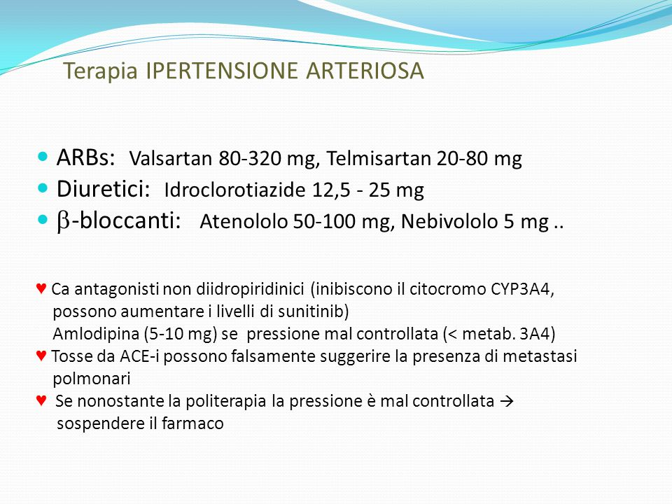 Terapia IPERTENSIONE ARTERIOSA