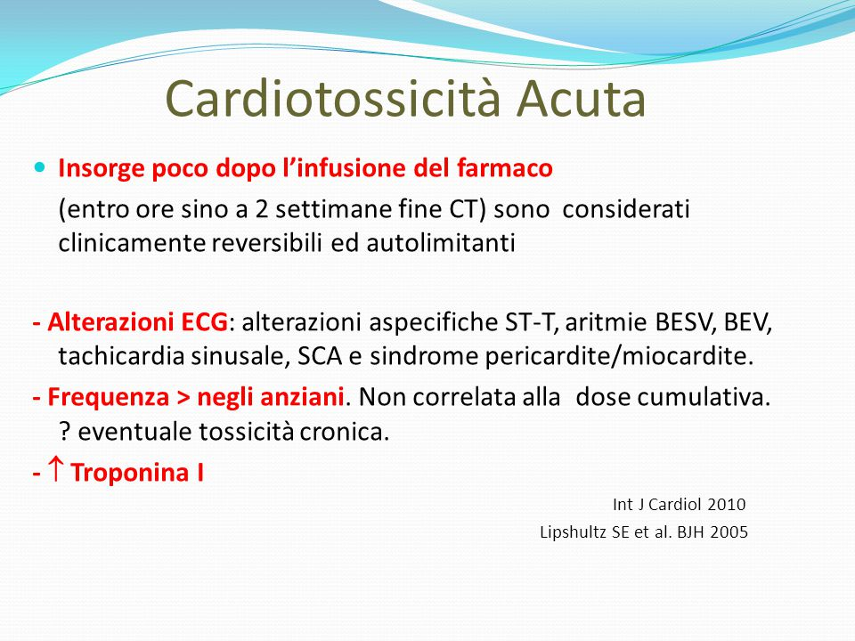 Cardiotossicità Acuta