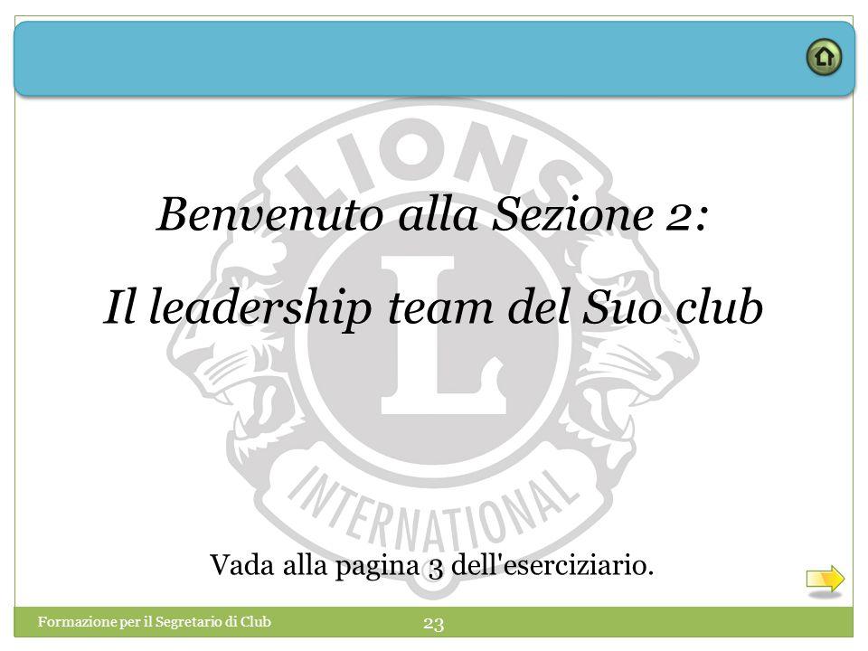 Benvenuto alla Sezione 2: Il leadership team del Suo club