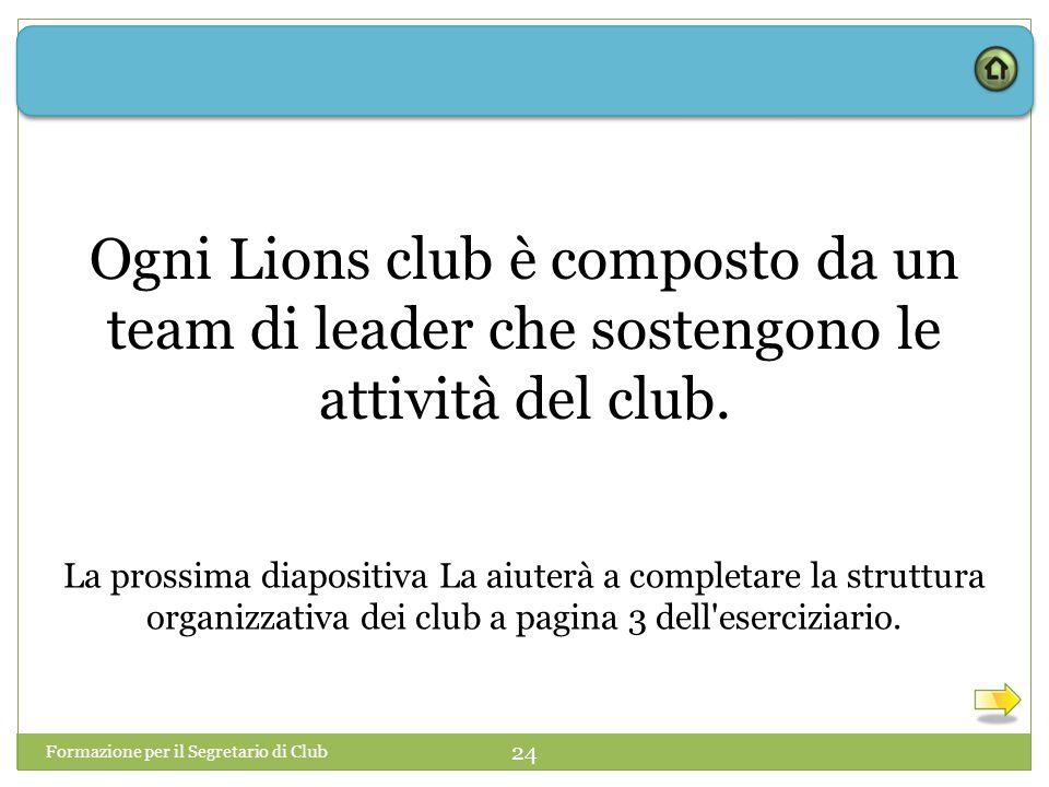 Ogni Lions club è composto da un team di leader che sostengono le attività del club.