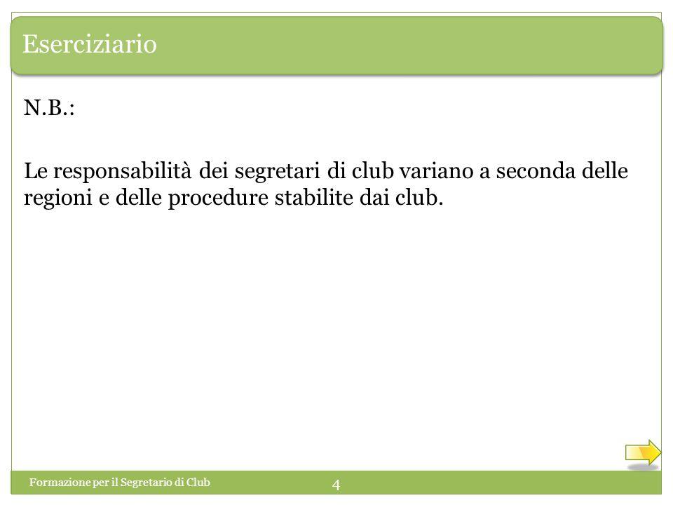 Eserciziario N.B.: Le responsabilità dei segretari di club variano a seconda delle regioni e delle procedure stabilite dai club.