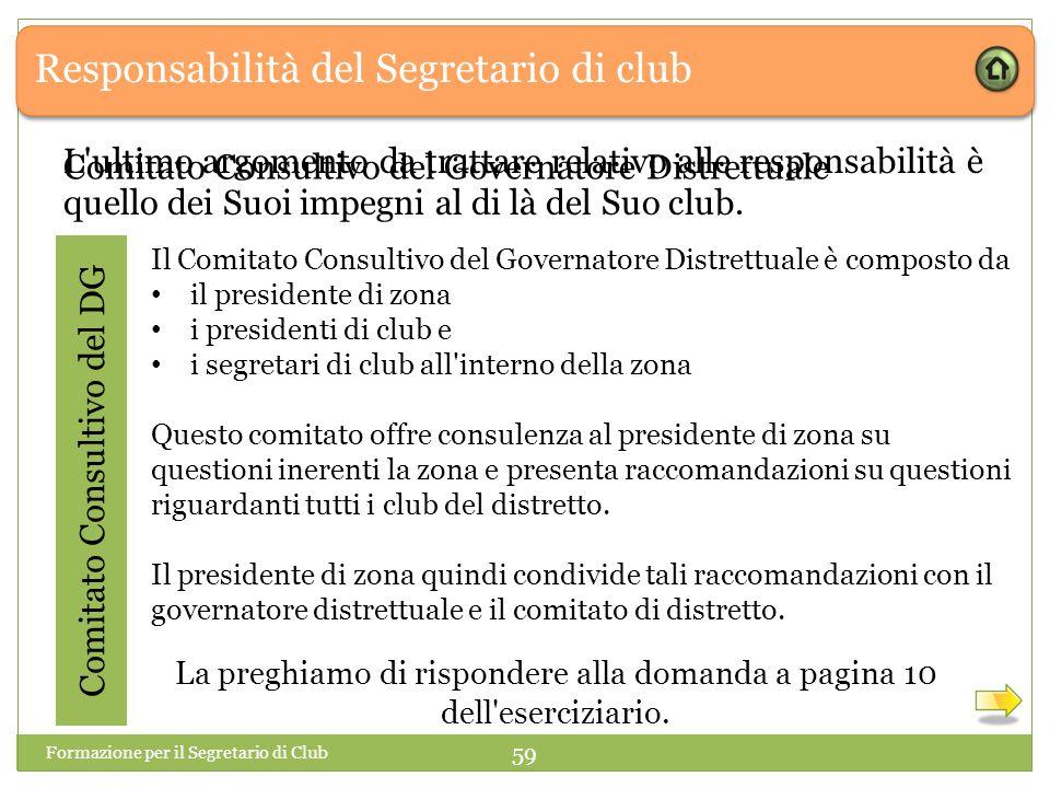 Responsabilità del Segretario di club