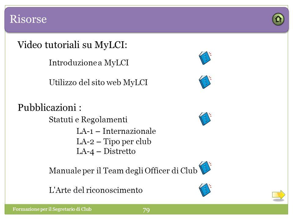 Risorse Video tutoriali su MyLCI: Introduzione a MyLCI Pubblicazioni :