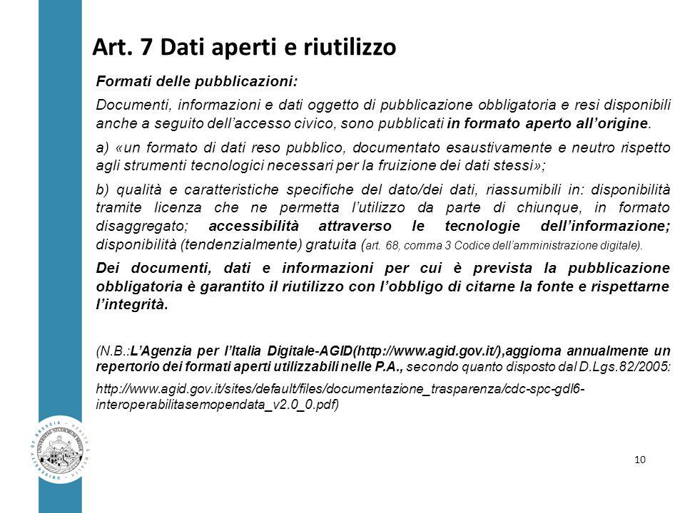 Art. 7 Dati aperti e riutilizzo