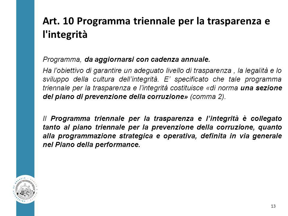 Art. 10 Programma triennale per la trasparenza e l integrità