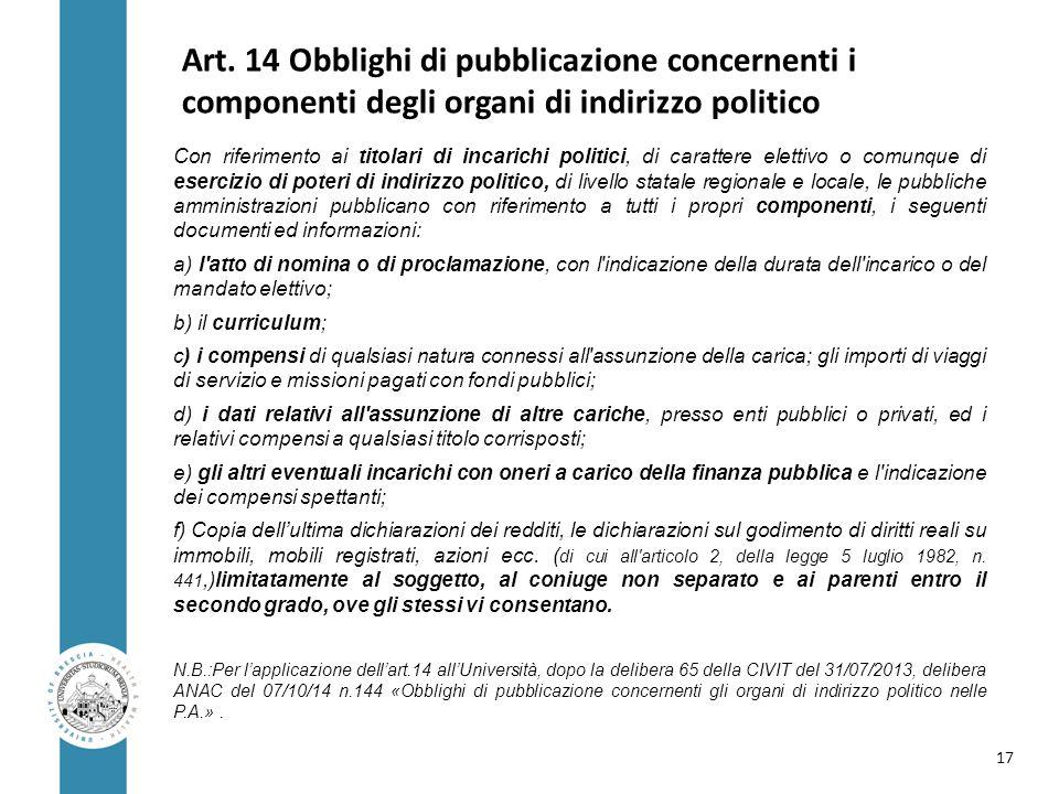 Art. 14 Obblighi di pubblicazione concernenti i componenti degli organi di indirizzo politico