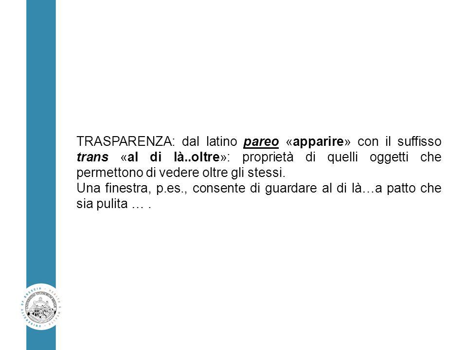 TRASPARENZA: dal latino pareo «apparire» con il suffisso trans «al di là..oltre»: proprietà di quelli oggetti che permettono di vedere oltre gli stessi.