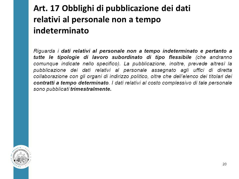 Art. 17 Obblighi di pubblicazione dei dati relativi al personale non a tempo indeterminato