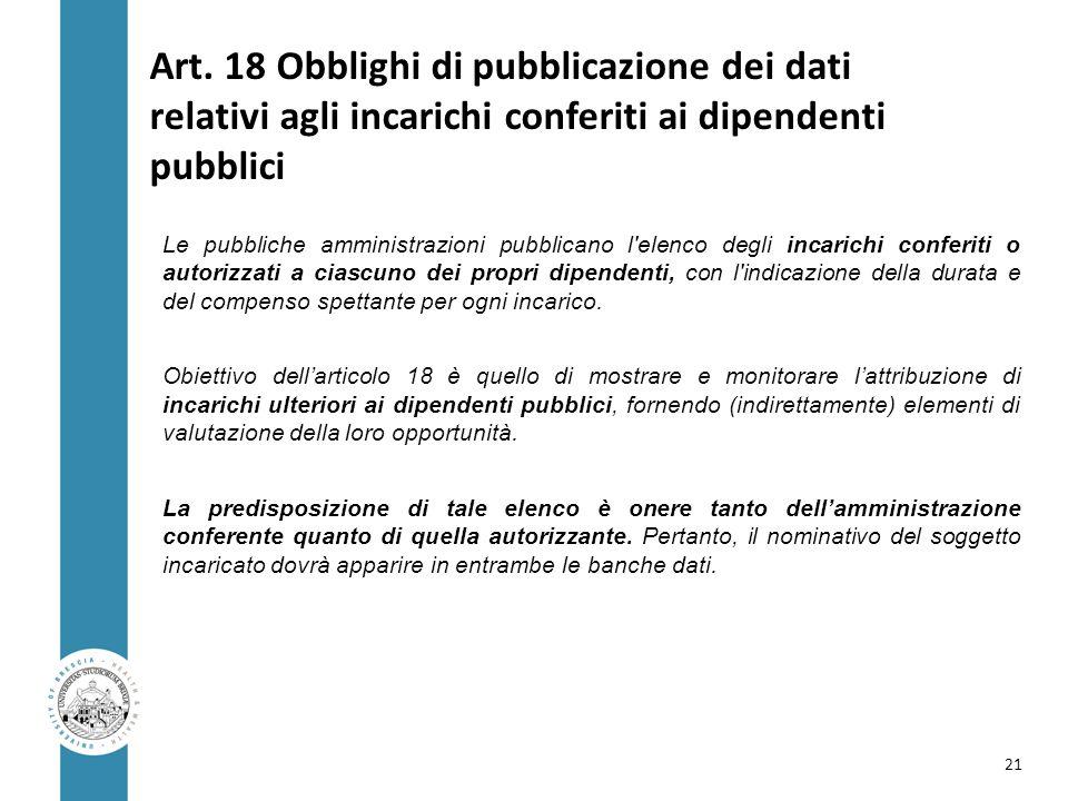 Art. 18 Obblighi di pubblicazione dei dati relativi agli incarichi conferiti ai dipendenti pubblici