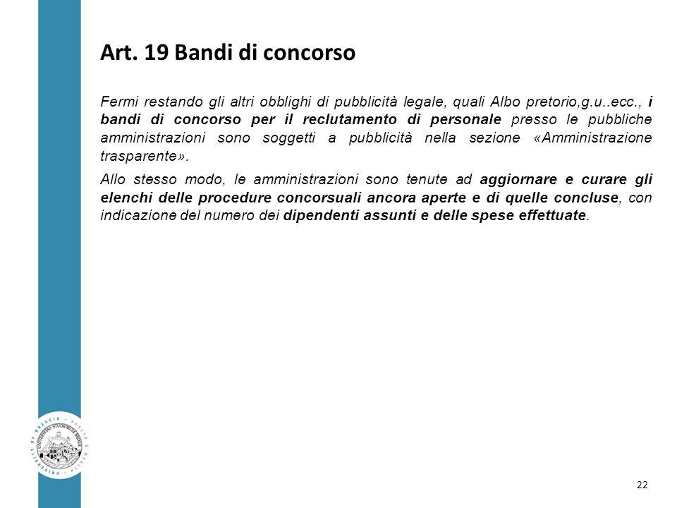 Art. 19 Bandi di concorso