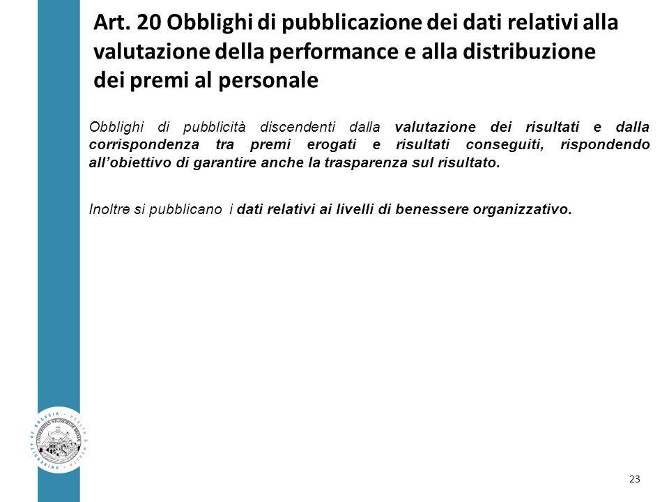 Art. 20 Obblighi di pubblicazione dei dati relativi alla valutazione della performance e alla distribuzione dei premi al personale