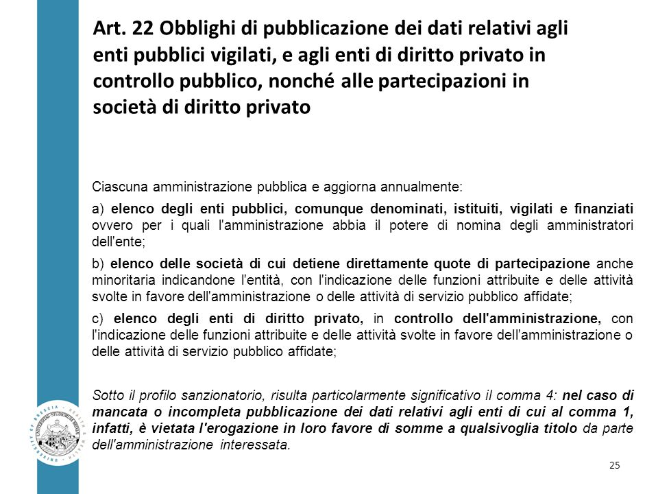 Art. 22 Obblighi di pubblicazione dei dati relativi agli enti pubblici vigilati, e agli enti di diritto privato in controllo pubblico, nonché alle partecipazioni in società di diritto privato