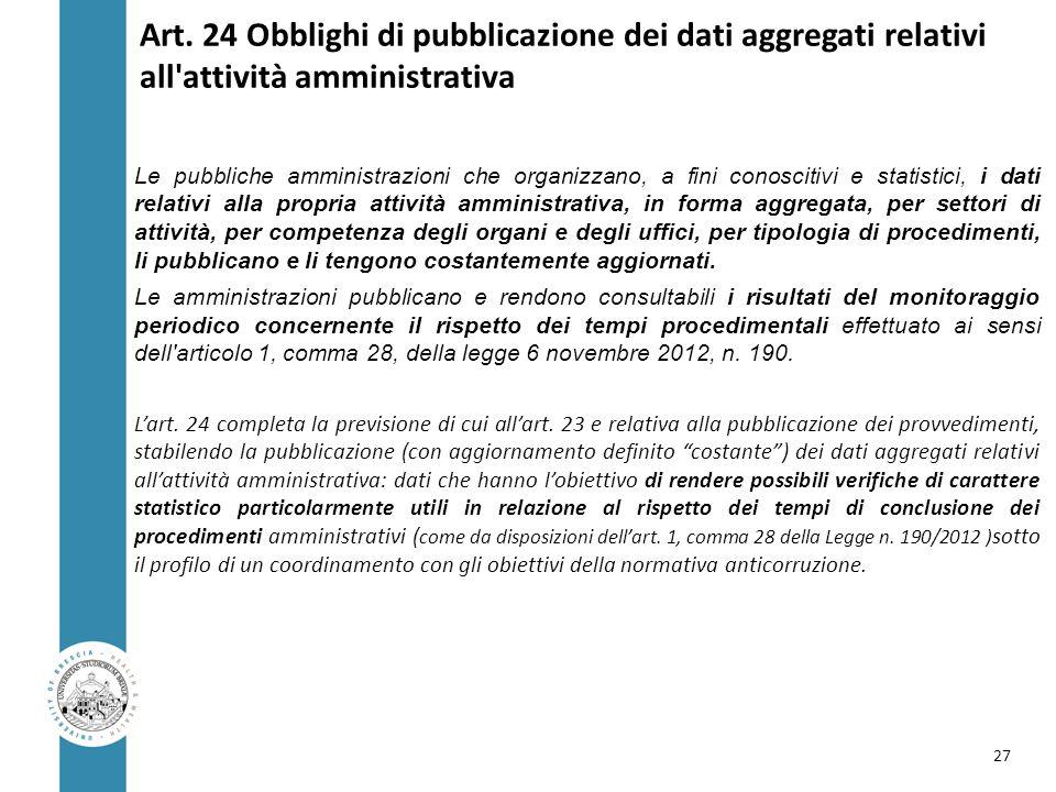 Art. 24 Obblighi di pubblicazione dei dati aggregati relativi all attività amministrativa