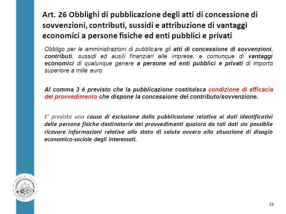 Art. 26 Obblighi di pubblicazione degli atti di concessione di sovvenzioni, contributi, sussidi e attribuzione di vantaggi economici a persone fisiche ed enti pubblici e privati