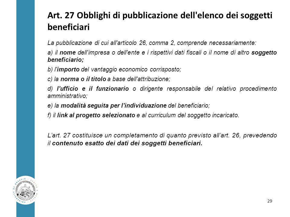 Art. 27 Obblighi di pubblicazione dell elenco dei soggetti beneficiari